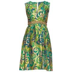 1960S Blue & Green Gold Lamé Rayon/Lurex Damask Paisley Cocktail Dress