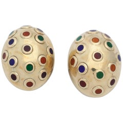 1960s Blue, Green, Orange and Red, Enamel Egg Shaped Gold Earrings with Posts