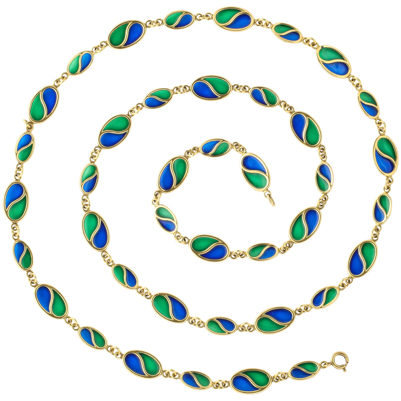 1960s Blue Green Plique-A-Jour Enamel Long Gold Chain