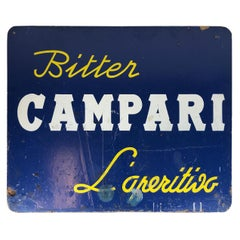 1960s Blue Hard Cardboard Vintage Italian Bitter Campari Sign