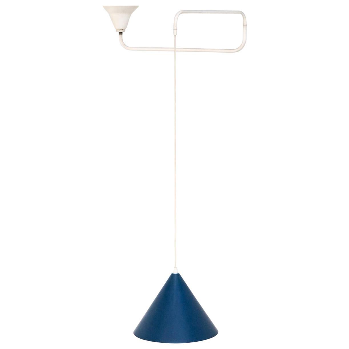 1960s Blue Metal Hanging Lamp, Hoogervorst Anvia