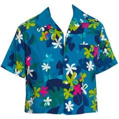 1960S Blue Polynesian Cotton Barkcloth Men'S Mod Floral Hawaiian Shirt