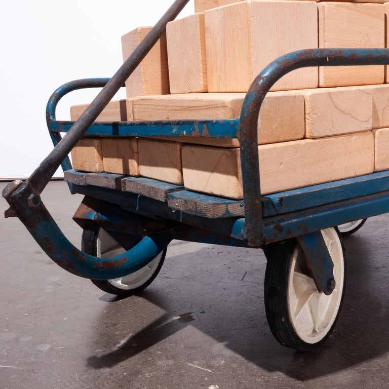 1960's Blue Toy Cart with Set of Large Scale Wooden Building Blocks For Sale 2