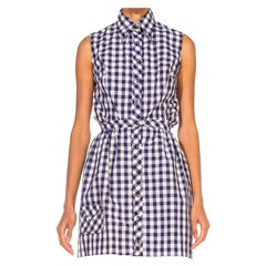 1960S Blue & White Cotton Gingham Romper Mini Skirt Ensemble