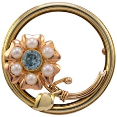 1960s Blue Zircon and Pearl Flower Brooch, Two Color Rose Yellow Gold