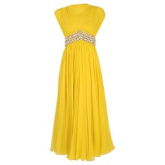 1960's Bob Bugnand Sunshine-Yellow Draped Silk Chiffon Beaded Goddess Gown