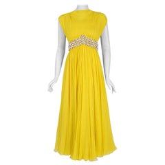 1960's Bob Bugnand Sunshine-Yellow Draped Silk Chiffon Beaded Goddess Gown