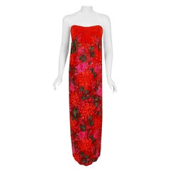 1960's Bob Bugnand Watercolor Red & Orange Floral Flocked Satin Strapless Gown
