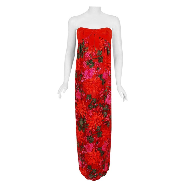 1960's Bob Bugnand Watercolor Red & Orange Floral Flocked Satin Strapless Gown  For Sale