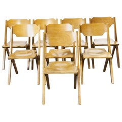 1960s Bombenstabil Stacking Beech Dining Chairs, Set of Eight