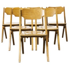 1960s Bombenstabil Stacking Beech Dining Chairs, Set of Six