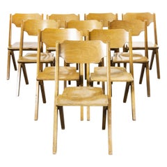 1960s Bombenstabil Stacking Beech Dining Chairs, Set of Ten