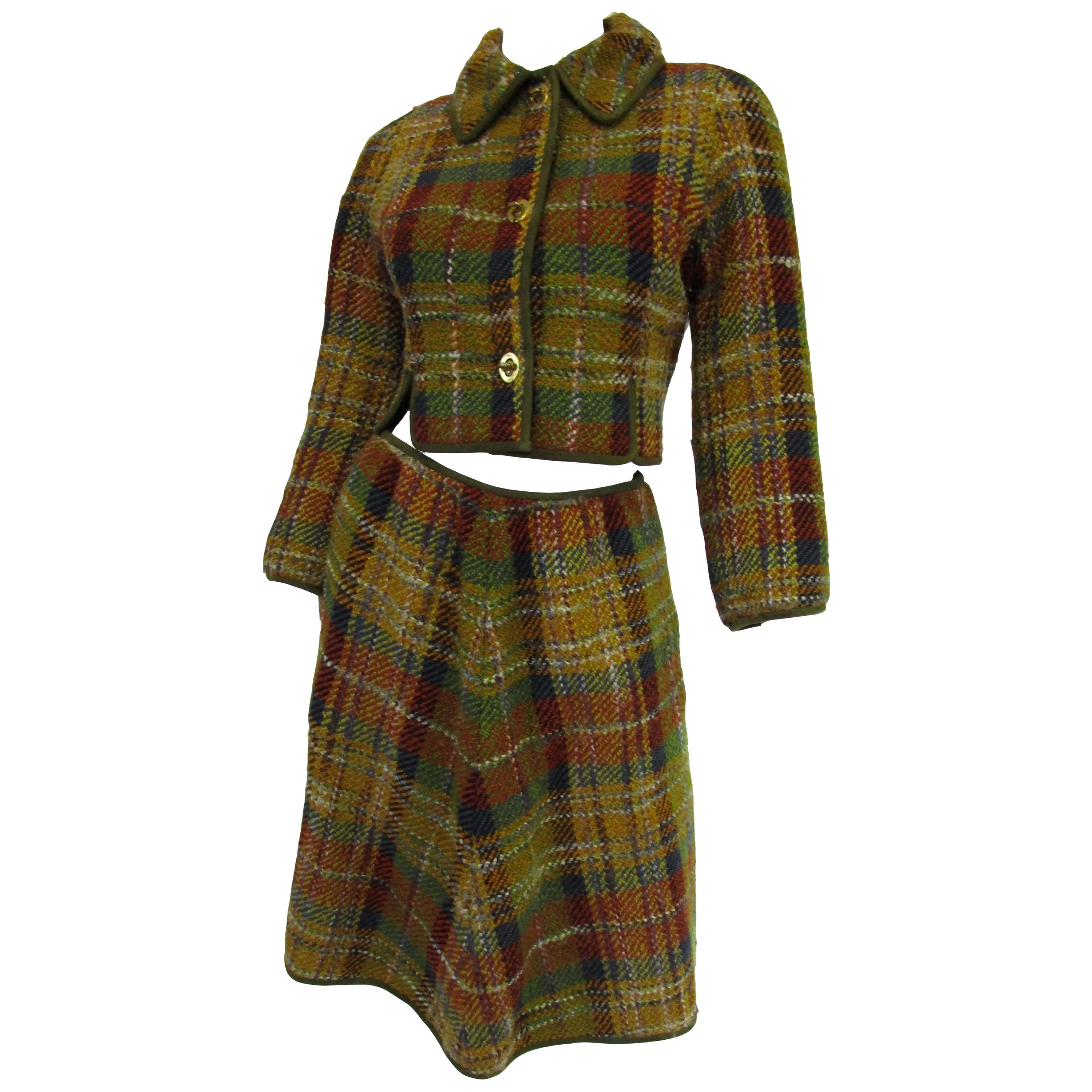 1960s Bonnie Cashin Polychromatic Wool, Suede, and Brass Skirt Suit