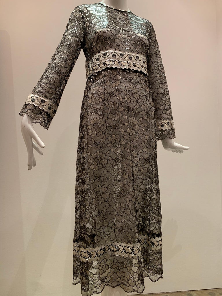1960s Bonwit Teller Black & Silver Floral Lace Maxi Dress W/ Ribbon Empire Waist For Sale 11