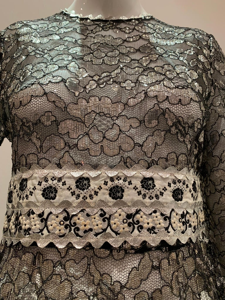 1960s Bonwit Teller Black & Silver Floral Lace Maxi Dress W/ Ribbon Empire Waist In Excellent Condition For Sale In San Francisco, CA
