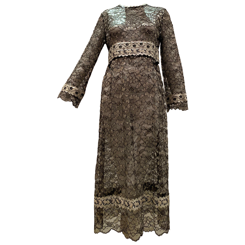 1960s Bonwit Teller Black & Silver Floral Lace Maxi Dress W/ Ribbon Empire Waist