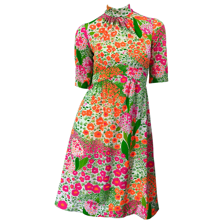 1960s Bonwit Teller Bright Flower Print Empire Waist High Neck Vintage 60s Dress