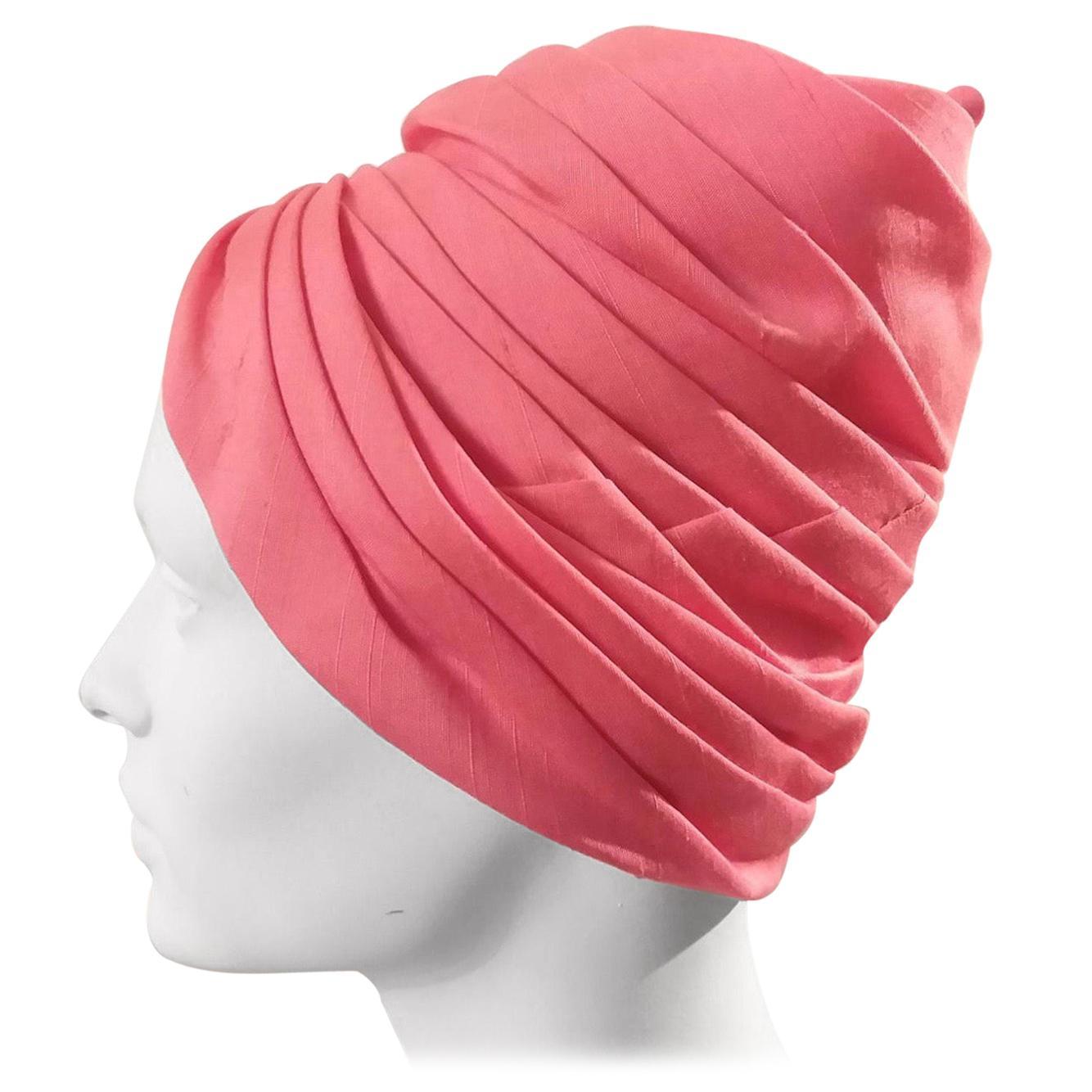 1960s Bonwit Teller Coral Pink Silk Turban
