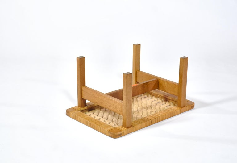 Borge Mogensen Oak and Cane/Rattan Benches or Side Tables,1960s  For Sale 3