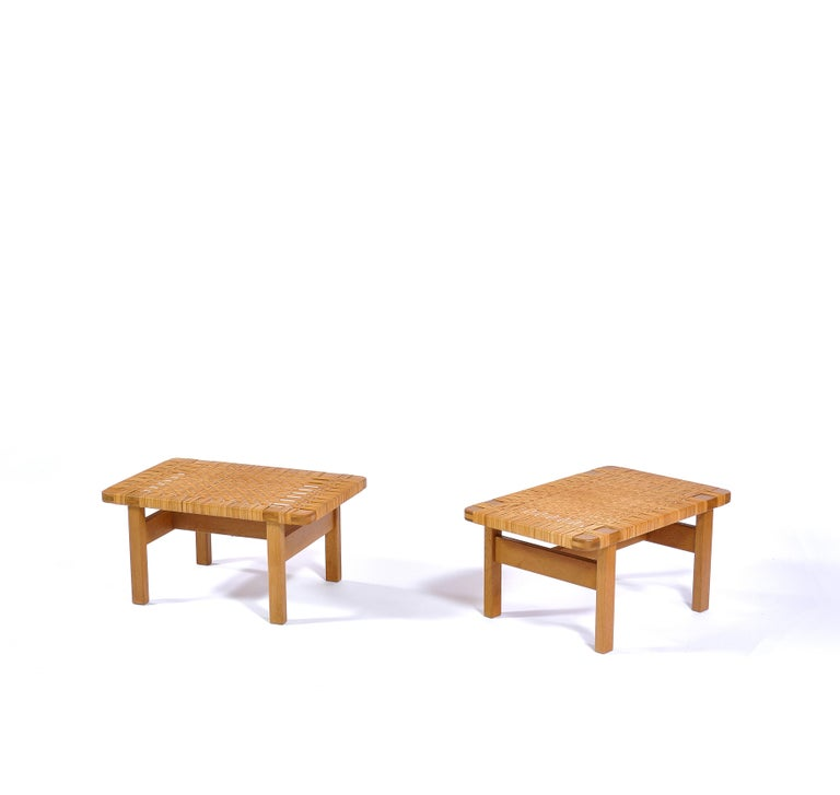 Scandinavian Modern Borge Mogensen Oak and Cane/Rattan Benches or Side Tables,1960s  For Sale