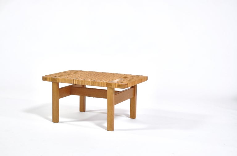 Danish Borge Mogensen Oak and Cane/Rattan Benches or Side Tables,1960s  For Sale