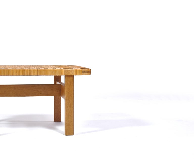 Hand-Woven Borge Mogensen Oak and Cane/Rattan Benches or Side Tables,1960s  For Sale