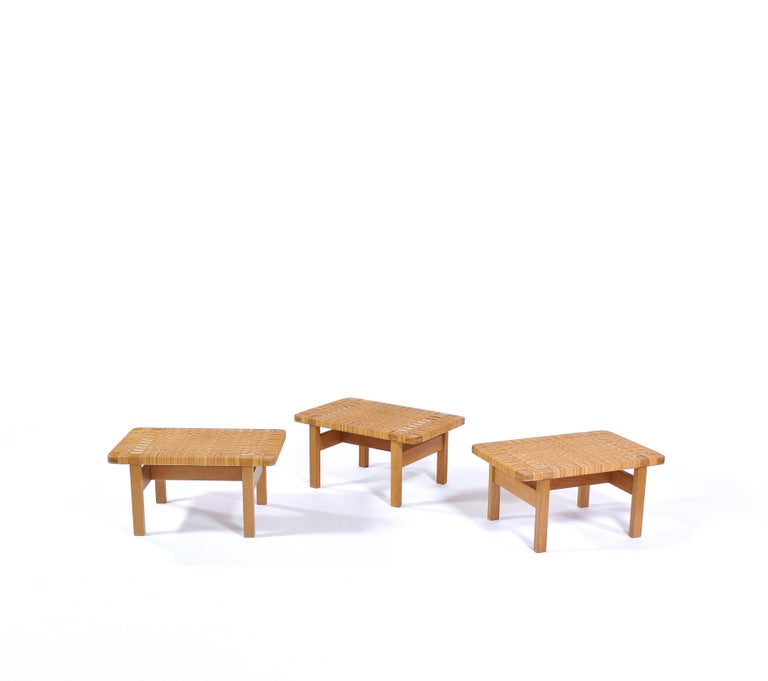 Borge Mogensen Oak and Cane/Rattan Benches or Side Tables,1960s  For Sale 1