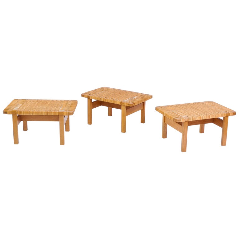 Borge Mogensen Oak and Cane/Rattan Benches or Side Tables,1960s  For Sale