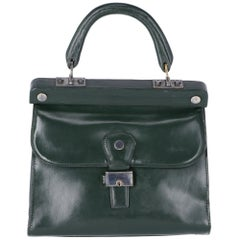 1960s Bottle Green Leather Bag