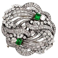 1960s Boucheron Paris Emerald Diamond Platinum Double Clip Brooch Pin