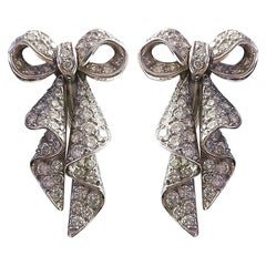 1960s Bow Diamond Platinum Earrings