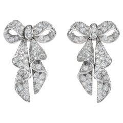 1960s Bow Diamond Platinum Earrings