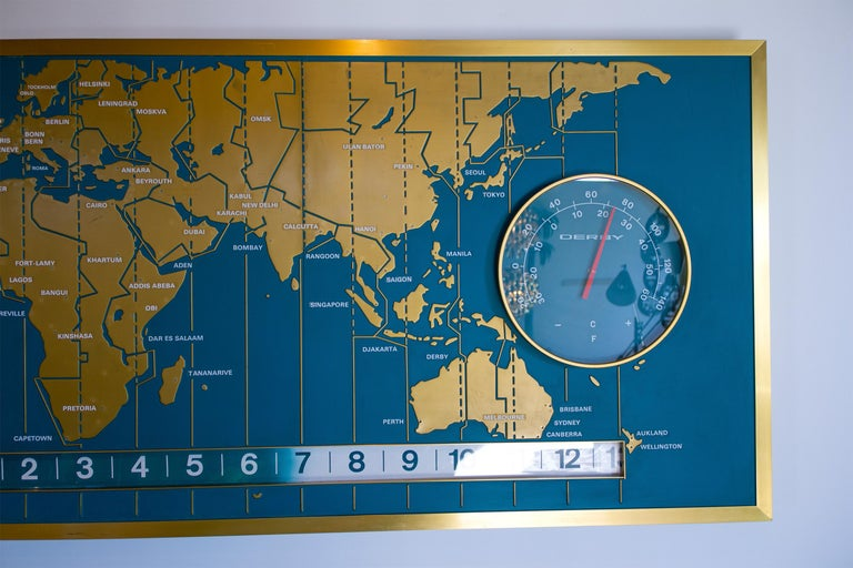 Mid-Century Modern 1960s Braniff Airlines World Map Doomsday Clock with Programmable Lighting For Sale