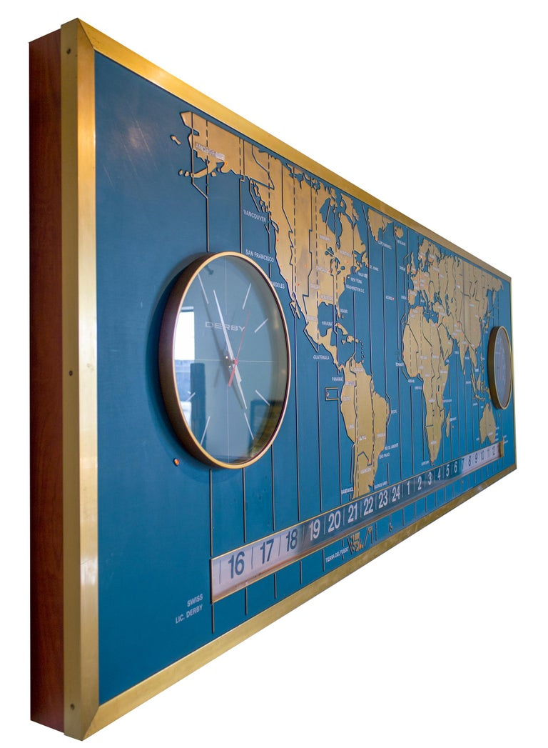 20th Century 1960s Braniff Airlines World Map Doomsday Clock with Programmable Lighting For Sale