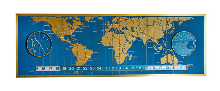 Aluminum 1960s Braniff Airlines World Map Doomsday Clock with Programmable Lighting For Sale