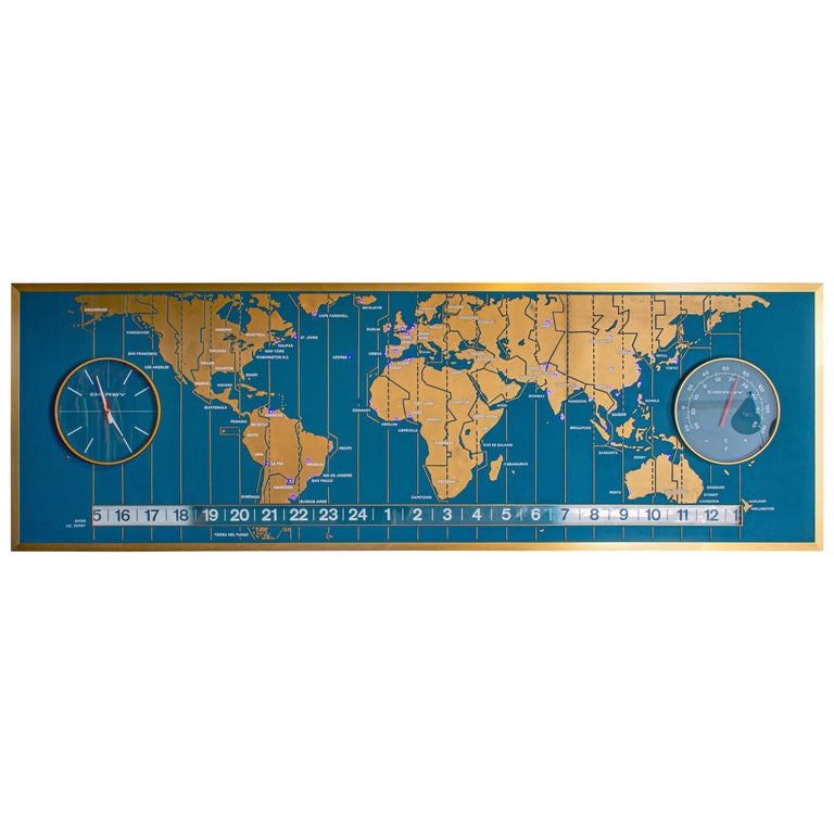 1960s Braniff Airlines World Map Doomsday Clock with Programmable Lighting For Sale