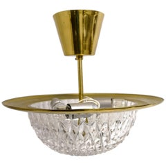 1960s, Brass and Crystal Celling Lamp by Tyringe for Orrefors, Sweden