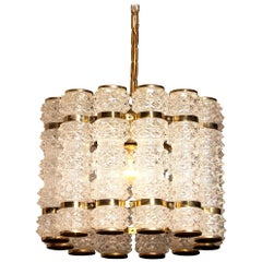 1960s, Brass and Crystal Cylinder Chandelier by Orrefors for Tyringe, Sweden