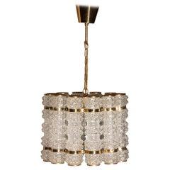 1960s, Brass and Crystal Cylinder Chandelier by Tyringe for Orrefors, Sweden