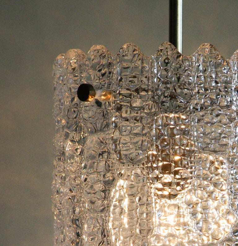 Mid-20th Century 1960s, Brass and Crystal Glass Pendant by Carl Fagerlund for Orrefors For Sale
