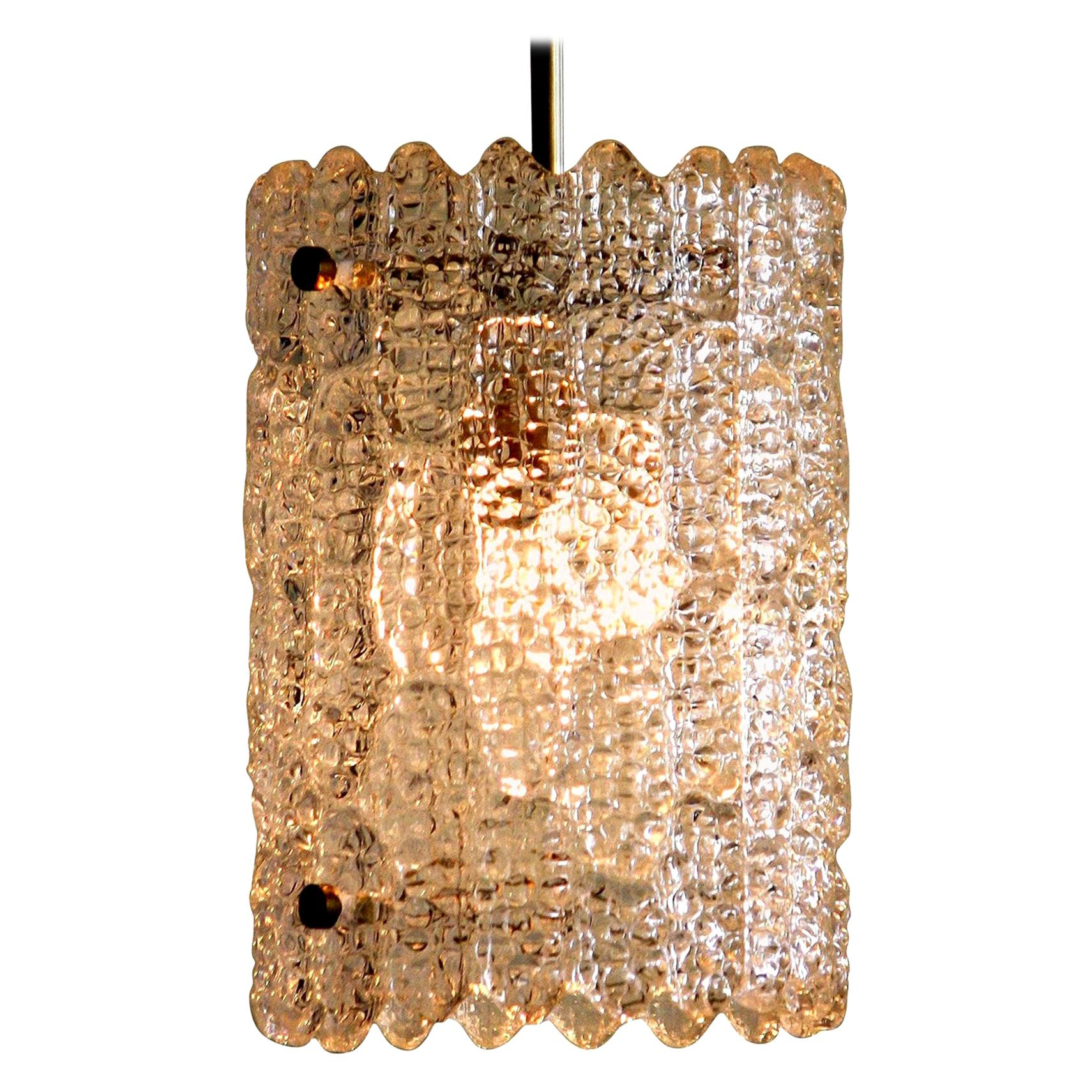 1960s, Brass and Crystal Glass Pendant by Carl Fagerlund for Orrefors