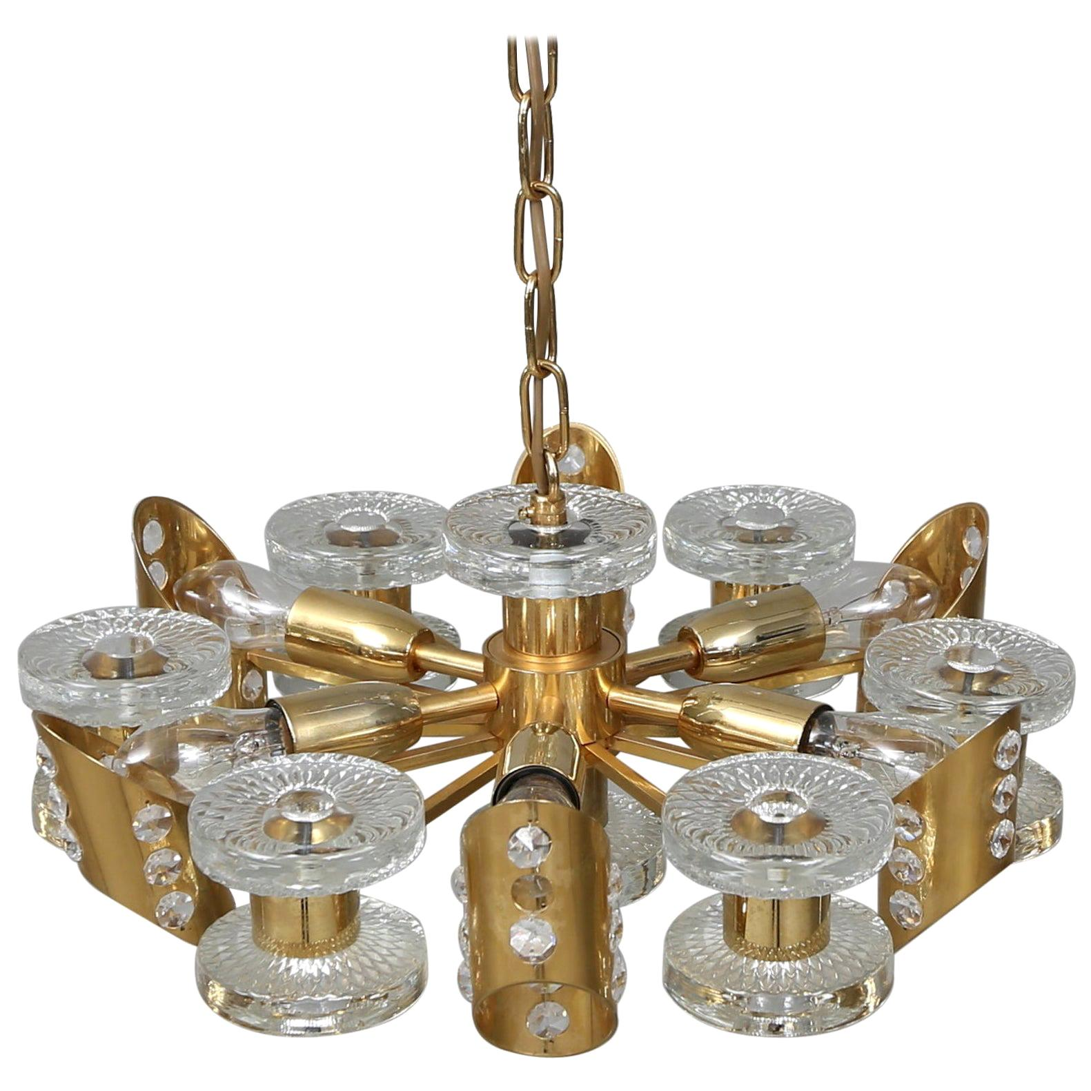 1960s Brass and Crystal Midcentury Chandelier