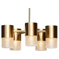 1960s Brass and Glass Cylindrical Chandelier by Konsthantverk Tyringe, Sweden