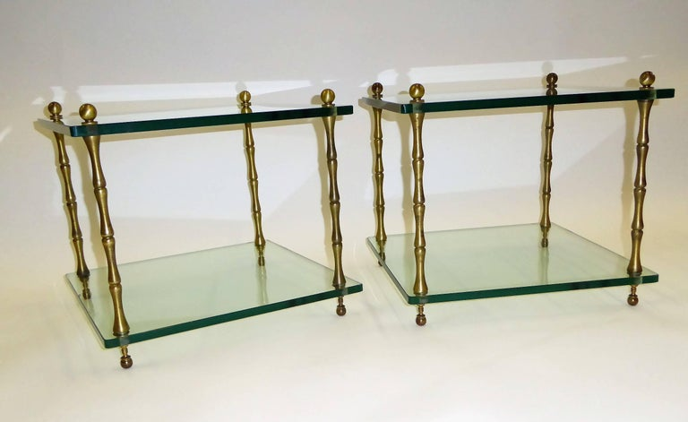 Mid-Century Modern 1960s Brass and Glass Faux Bamboo Occasional Side Tables For Sale