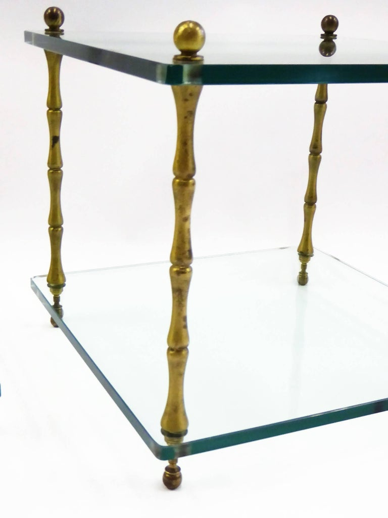 Cast 1960s Brass and Glass Faux Bamboo Occasional Side Tables For Sale