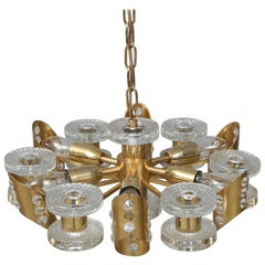 1960s Brass and Glass Midcentury Chandelier