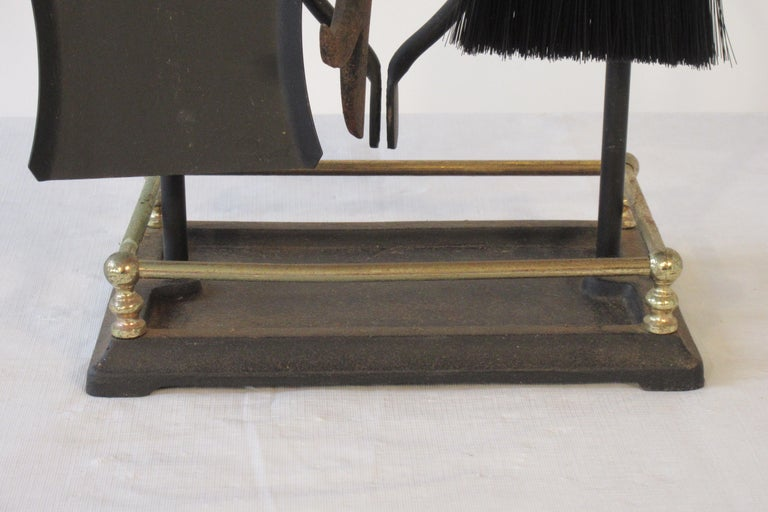 1960s Brass and Iron Fire Place Tool Set For Sale 6