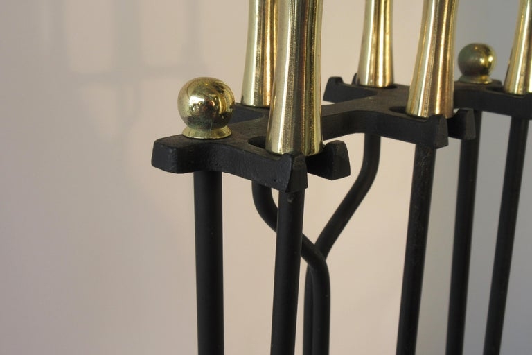 1960s Brass and Iron Fire Place Tool Set For Sale 2