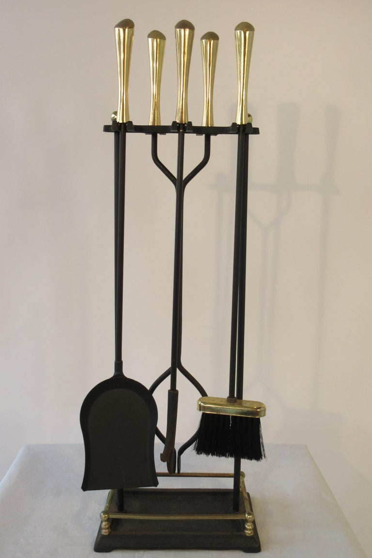 1960s Brass and Iron Fire Place Tool Set For Sale 3