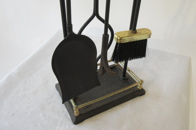 1960s Brass and Iron Fire Place Tool Set For Sale 4